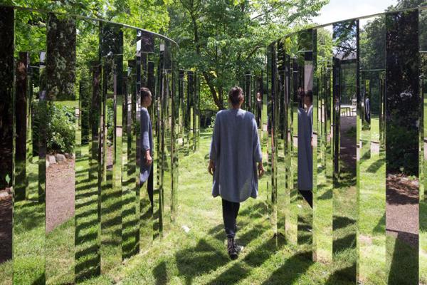 Semicircular Mirror Labyrinth 2013  Permanent installation at Ordrupgaard, Charlottenlund, Denmark